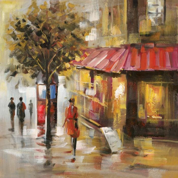 Rue abstraite avec passants