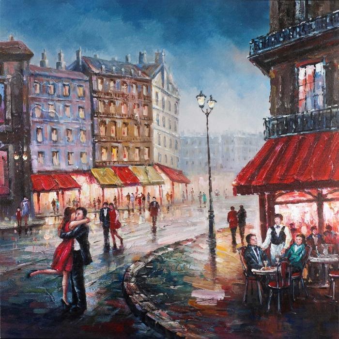 Couple s'embrassant dans la rue