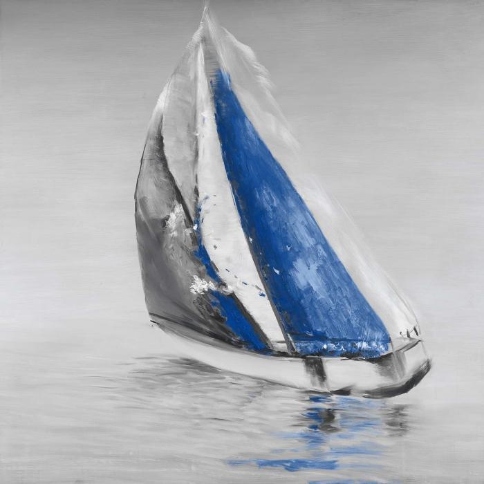 Gray and blue boat sailing