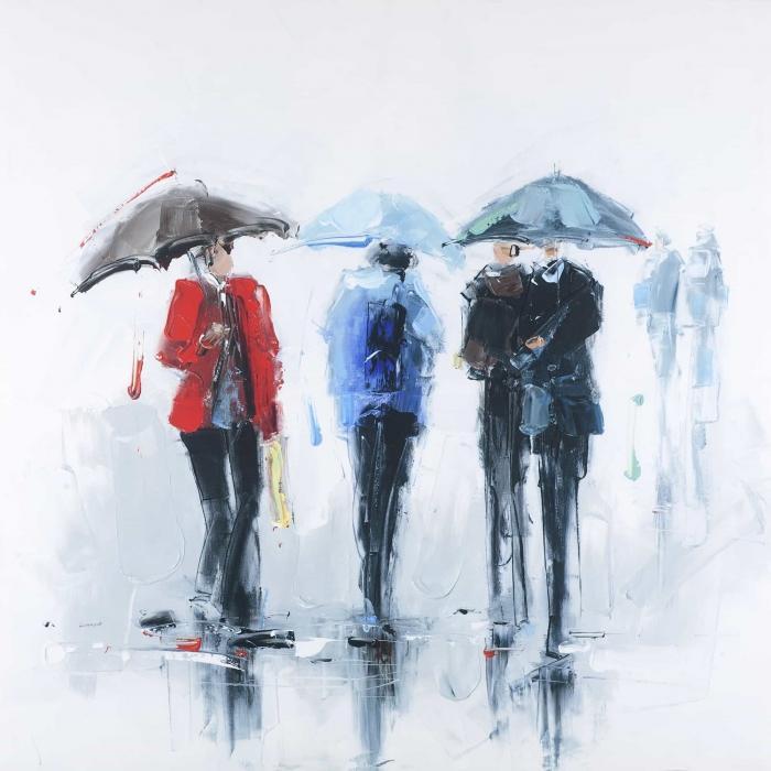 Trois personnes et leur parapluie