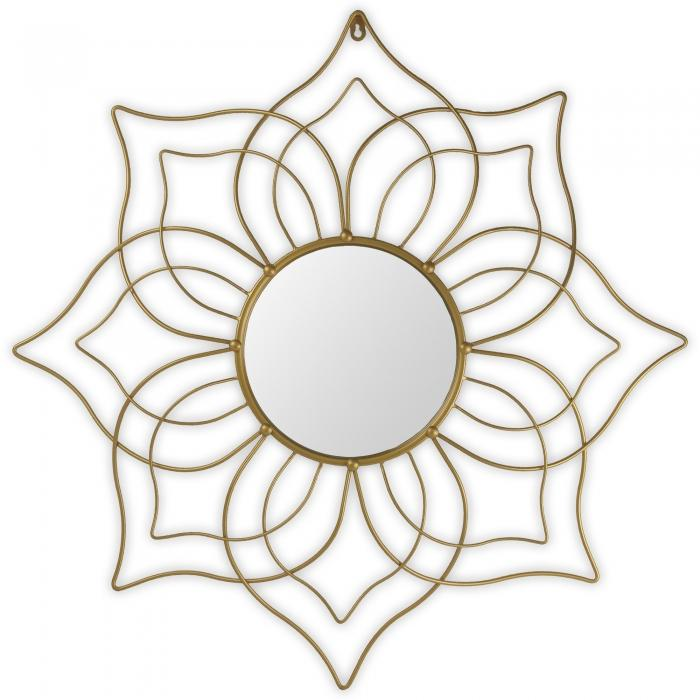 Gold metal flower mirror