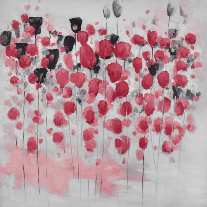 Champ de fleurs roses abstraites