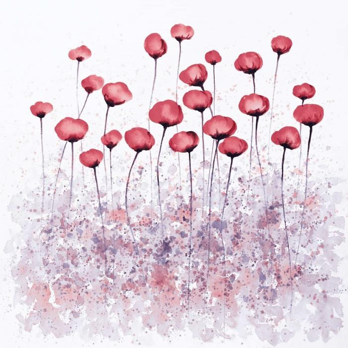 Fleurs rose dans un champ