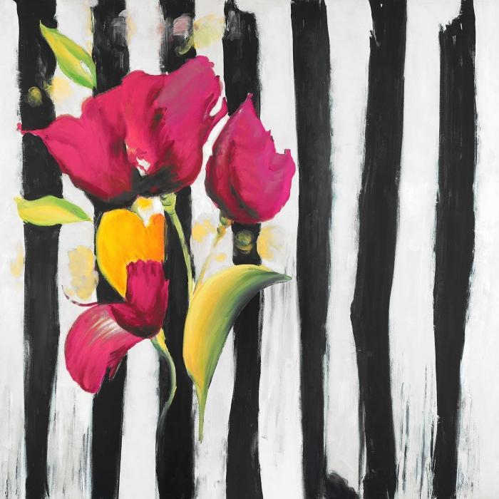 Fleurs rose sur rayures noir