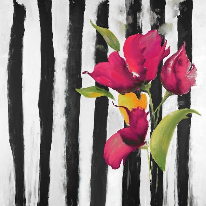 Fleurs sur rayures noires et blanches