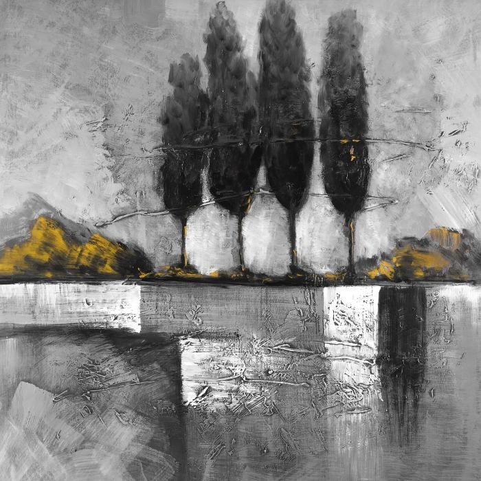 Paysage charcoal avec arbres