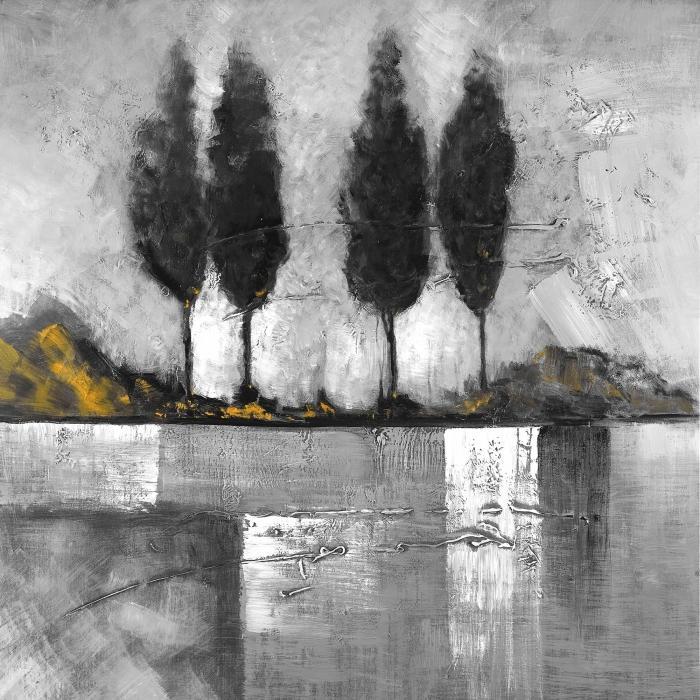Paysage industriel en tons de gris