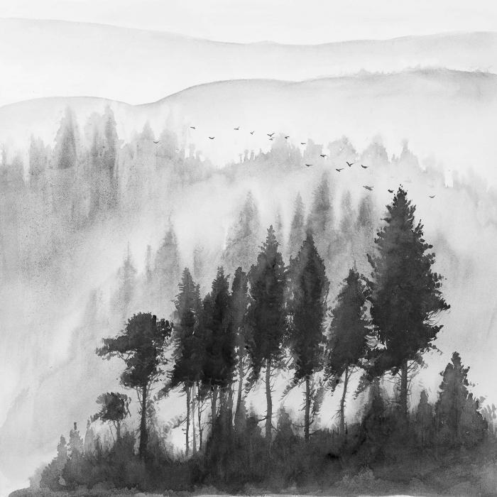 Paysage monochrome de montagnes à l'aquarelle