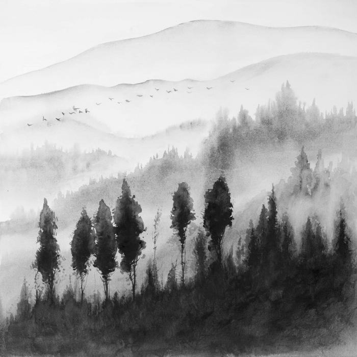Paysage monochrome à l'aquarelle