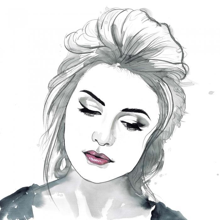 Femme délicate en aquarelle