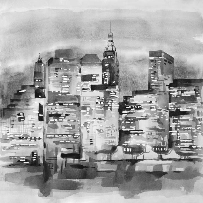 Paysage urbain à l'aquarelle