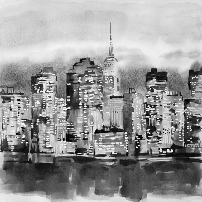 Immeubles d'un paysage urbain à l'aquarelle