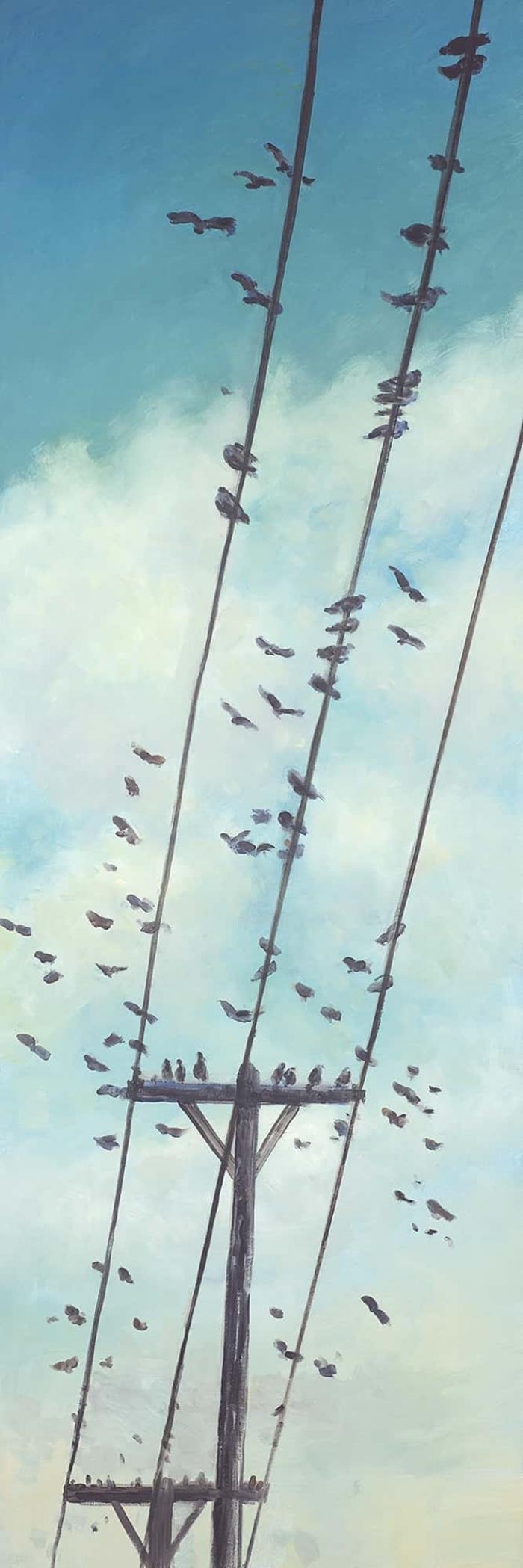 Oiseaux sur fil électrique