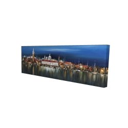 Canvas 16 x 48 - 3D - City by night with reflection on water