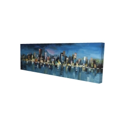 Canvas 16 x 48 - 3D - Abstract blue cityscape by night