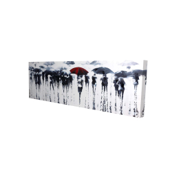 Canvas 16 x 48 - 3D - Abstract silhouettes under the rain