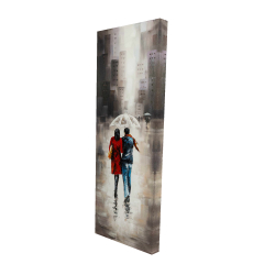 Canvas 16 x 48 - 3D - Quiet walk in couple in the rain