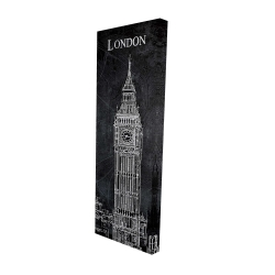 Canvas 16 x 48 - 3D - Big ben sketch with a map in background