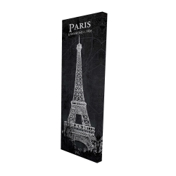 Canvas 16 x 48 - 3D - Eiffel tower sketch with a map in background