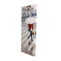 Canvas 16 x 48 - 3D - Woman walking with her umbrella
