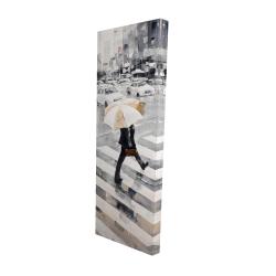 Canvas 16 x 48 - 3D - Man walking with his umbrella