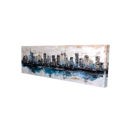 Canvas 16 x 48 - 3D - Abstract city with reflection on water