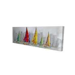 Canvas 16 x 48 - 3D - Sailboats in the wind