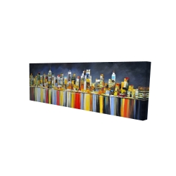 Canvas 16 x 48 - 3D - Colorful reflection of a cityscape by night