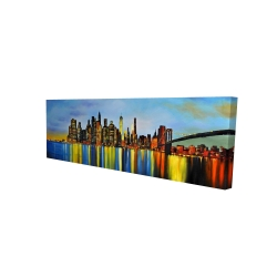 Canvas 16 x 48 - 3D - City by night with a bridge
