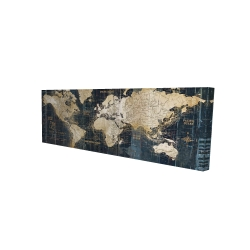 Canvas 16 x 48 - 3D - Vintage world map
