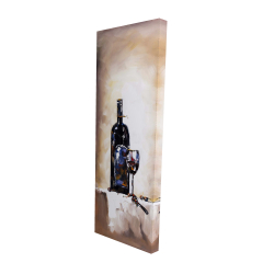 Canvas 16 x 48 - 3D - Bottle and a glass of red wine