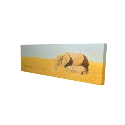 Canvas 16 x 48 - 3D - Elephant and its little one