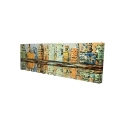 Canvas 16 x 48 - 3D - Reflections of a colorful city