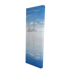 Canvas 16 x 48 - 3D - Two sailboats on the quiet lake