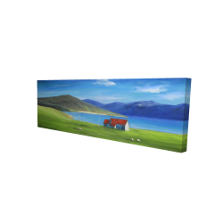 Canvas 16 x 48 - 3D - Scottish highlands with a little red roof house