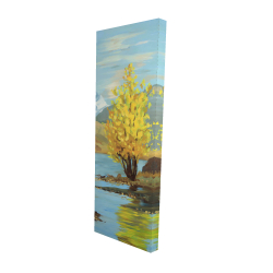 Canvas 16 x 48 - 3D - Lake landscape with a tree and reflection