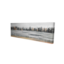 Canvas 16 x 48 - 3D - Fall rainy day landscape with trees