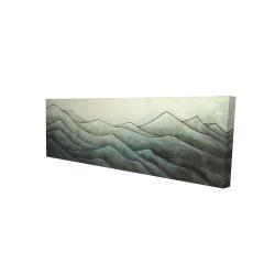 Toile 16 x 48 - 3D - Montagnes en tons de gris