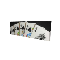 Canvas 16 x 48 - 3D - Card game spades royal flush closeup