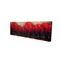 Canvas 20 x 60 - 3D - Red trees by a dark day