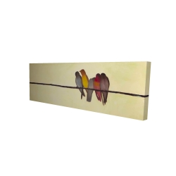 Canvas 16 x 48 - 3D - Five birds on a branch