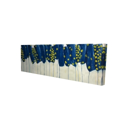 Canvas 16 x 48 - 3D - Abstract blue and yellow flowers