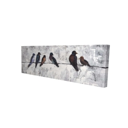 Canvas 16 x 48 - 3D - Colorful birds on branches
