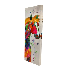 Canvas 16 x 48 - 3D - Abstract colorful horse with paint splash