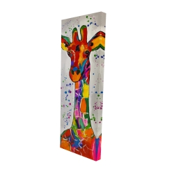 Canvas 16 x 48 - 3D - Abstract colorful giraffe with paint splash