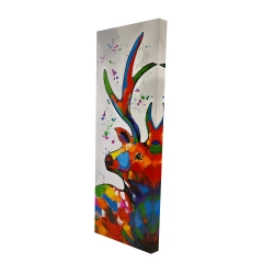Canvas 16 x 48 - 3D - Abstract colorful deer with paint splash