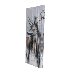 Canvas 16 x 48 - 3D - Deer in the forest by a rainy day