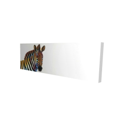 Canvas 16 x 48 - 3D - Colorful profile view of a zebra