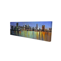 Canvas 16 x 48 - 3D - Colorful city with a bridge by night