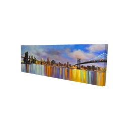 Canvas 16 x 48 - 3D - Colorful city with a bridge by day